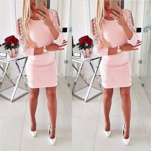 New Fashion Sexy Women Bandage Mini Dress Hollow Out Lace Sleeve Female Summer Sexy Dress Evening Party Club Wear