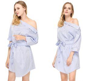 Été femmes robe bleue Chemise rayée courte Mini robe sexy fendus demi-manches Taille Plus Sundress