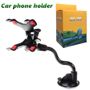 Universal Windshield Car phone Mount holder Long Arm clamp with Double Clip Strong Suction Cup Phone Car cellphone Holder MQ100
