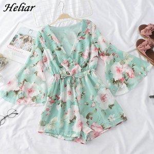 HELIAR Summer V-neck Elegant Women Rompers Floral Printed Jumpsuits Elegant Rompers Elastic Waist Lady Short Overalls Playsuits