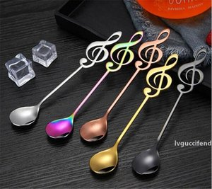 Hot Dining Bar Colorful Stainless Steel Flatware guitar Spoon Creative Milk Coffee Spoon Ice Cream Candy Teaspoon accessorie 13