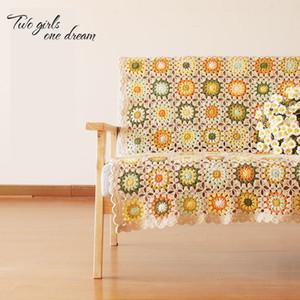 DIY Colourful Daisy Handmade Original Hand Hook Tablecloth Fashion Crochet Blanket Yoga Bolster Cushion Crochet Table Mats Prop