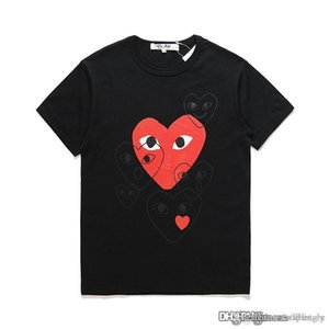 18ss Black COM DES G GARCONS CDG HOLIDAY Heart New PLAY T-shirt new large red hearts limit the expression love couples dress shirt