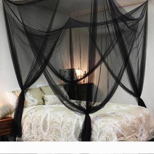 Blanco Negro 4 Esquinas princesa poste de la cama tienda de campaña cubierta Mosquitera gemelo completa reina rey en redes de venta al por mayor calientes