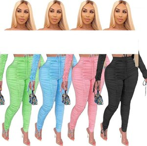 Casual High Waist Stretchy Ruched Skinny Sweatpants 20ss New Women Clothing Solid Color Women Stacked Pants