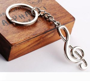200pcs Hot sale New key chain key ring silver plated musical note keychain for car metal music symbol key chains