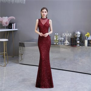 Deep Red Prom Gown High Neck Mermaid Floor Length Evening Dress for Formal Special Occasions Custom Made