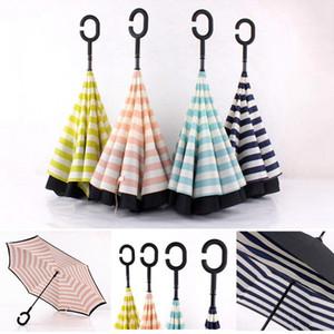 C Type Sun Protection Portable Umbrellas Double Layer Pongee Stripe Reverse Umbrella Straight Long Handle Outdoor Umbrellas DDA144