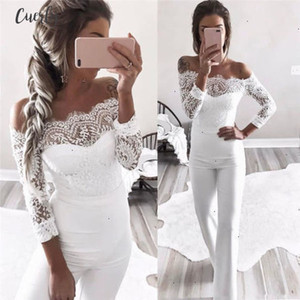 Off Elegant Shoulder Lace Rompers Womens Summer Jumpsuit Sexy Ladies Casual Long Trousers Overalls White Jumpsuit