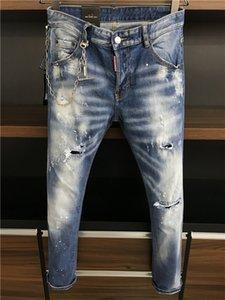Mens stylist Jeans Distressed Ripped Biker Jeans Slim Fit Motorcycle Biker Holes Denim Jean High Quality Mens ZipperJeans