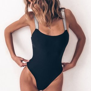 Um pedaço de maiô 2019 Sexy sólido preto branco acolchoado swimwear mulheres swimsuit plissado maço trajes praia desgaste monokini caindoindoll