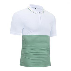 Transpirable Hombres Moda hombre del polo para hombre del diseñador ocasional remiendo Polos Verano gira el collar abajo camisas cómodo