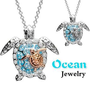 Ocean Turtle collane per le donne ghiacciato fuori collana ragazze Pendant Choker di lusso del collare di disegno del Rhinestone di Bling degli animali gioielli di moda regalo