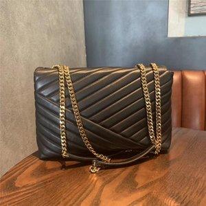 2019 famoso Desinger bolso de calidad superior genuina piel de cabra cadena Chevron convertible colgajo debe bolso de las mujeres del bolso del metal del envío 8
