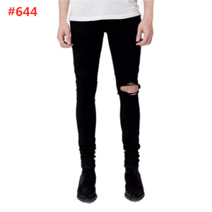 High quality Men Skinny Jeans Ripped Holes Jeans Motorcycle Biker Denim Pants AI Fashion Hip Hop Famous Denim Pants