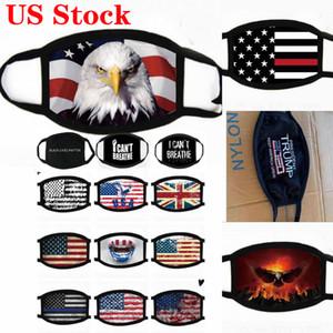 US Stock! Visage Masques Party Trump Supplies élection américaine Anti-poussière Imprimer Masque universel pour les hommes et les femmes du drapeau américain masque