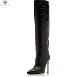 Intention originale genou hautes bottes Chaussures femmes Talons minces bout pointu Bureau cuir verni noir de base Bottes plus Taille 35-45