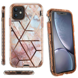 3in1 Marble Design 360 Protective Cover Heavy Duty Shockproof Full Body Phone Case for iphone 678plus x Xr 11 11Pro Samsung S20 S20 Ultra