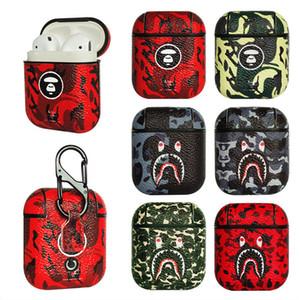 INS Housse en cuir pour AirPod de protection sans fil Bluetooth Accessoires Pouch Sac de charge avec écouteurs anti-goutte Crochet