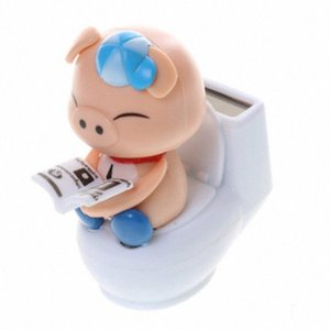 DREAMCAR Creative voiture solaire Ornements toilettes Nod de porc Décoration de voiture Poupée Cochon Porcelets Femme Année du bébé vOcb #