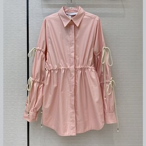 Autumn new wild pink drawstring high waist loose dovetail swing casual shirt