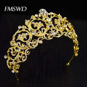 New Vintage Gold Color Rhinestone Wedding Baroque Tiara Crowns For Bride Headdress Fashion Hair Accessories Hair Jewelry HG-094