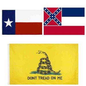 90 * 150cm Drapeau Mississippi State Mme État du pavillon Texas État Drapeaux Gadsden États-Unis Polyester Drapeaux Bannière CYZ2548 100Pcs