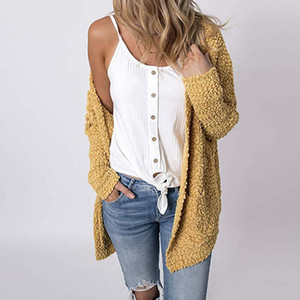 Sweater Women Long Sleeve Knitted Casual Loose Jacket Cape Top Double Pockets 2020 Autumn Fashion Cardigans Feminino