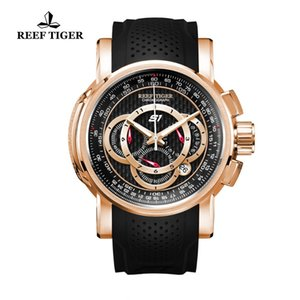 Reef Tiger RT Designer Sport Watches with Chronograph and Date Rose Gold Quartz Watches Rubber Strap RGA3063 T200409