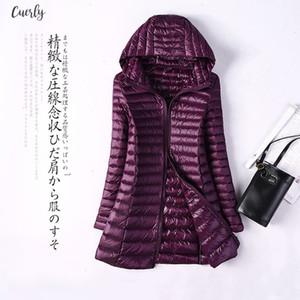 Winter Autumn Women Duck Down Jacket Slim Long Parkas Ladies 6Xl Warm Hooded Plus Size Ultra Light Outerwear Windbreakers