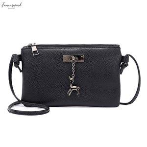 Womens Pure Color Leather Zipper Messenger Bag Small Deer Shoulder Messenger Bag Phone Coin Fashion Bag Torebki Damskie Handbags P