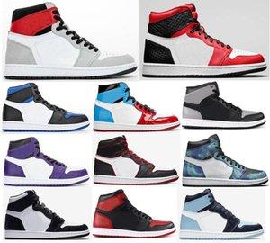 Yeni 1 Hafif Duman Gri Saten Yılan Batik Kraliyet Burun Mahkeme Mor Bloodline Basketbol Ayakkabı Erkek 1s Panda Kürk Gölge Sneakers Bred