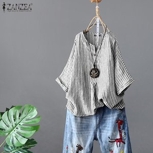 Women's Striped Blouse ZANZEA 2020 Stylish Summer Shirts Casual V Neck Work Blusas Female Short Sleeve Tops Oversized Tunic 5XL Y200622