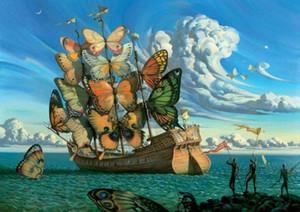 Salvador Dali Nave con las velas de la mariposa del arte de la decoración de seda impresión del cartel wuUz #