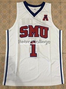 # 1 Shake Milton SMU Baloncesto universitario superior Jersey cosido cosido cualquier número y el nombre XS-6XL chaleco jerseys
