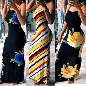 Contrasto di colore a righe maxi abiti senza maniche casuale allentata floreale Sling Dresses Estate progettista delle donne Abiti Spaghetti Strap