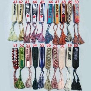 New Cotton tecido Letter Bordado borla pulseira Lace-up Pulseira ajustável Festival pulseiras jóias Marca Designer
