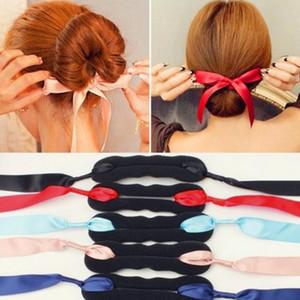 Menina Mulheres Cabelo Acessórios Curls Bun Cabelo Cabeça Banda Criador cabelo mágico Fazendo Fita Ferramenta bowknot Bun Estilo Criador