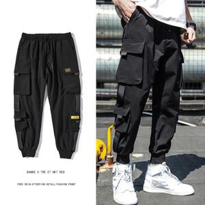 Pantalones para hombre de Hip Hop primavera Joggers Negro Harem de carga multi-bolsillo de pantalón masculino cintas Streetwear pantalones casuales M-3XL