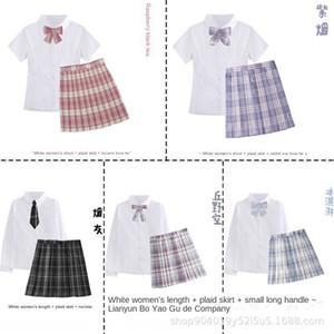 JK genuine sailor suit with femalestyle plaid skirt female school uniform class uniform plaid skirt