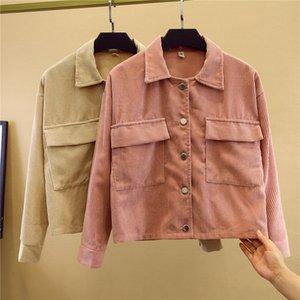 2019 velours côtelé double poche style académique baseball lâche costume de baseball veste manteau court manteau court