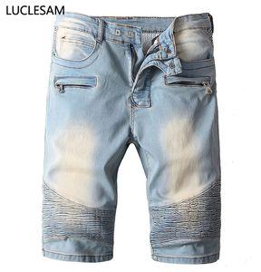 Streetwear Männer Stretch-Denim-Shorts Knielänge Falten gerade kurze Hosen für Männer beiläufigen dünnen Mens Jeans Vintage-Biker Shorts