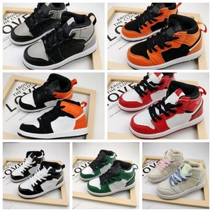 2020 1 Kids Basketball Shoes mid black metallic gold white High Youth Chicago New Born Baby Infant Toddler Trainers Small Boys Girls Sneaker