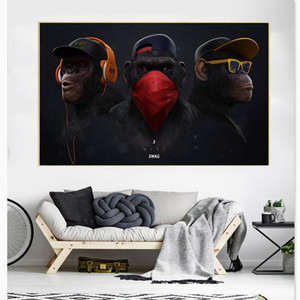 Modern Wall Art Canvas Painting Funny Thinking Monkey with Headphone Poster Prints Animal Wall Picture for Living Room Home Decor