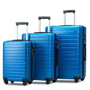 3 Gepäckstück, tragbarer ABS Trolley 20/24/28 Zoll blau, erweiterbarer 8-Rad rotierender Koffer mit Teleskopstiel, Reise