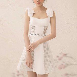 falda A- A- falda de línea A-Line vestido blanco 2020 nuevo verano del collar del cuadrado de alta cintura delgada pequeña reducción de la edad de estilo occidental