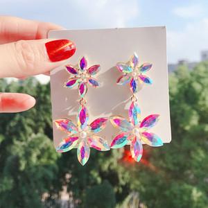 Dominated contracted Hyperbole style fine Multicolor crystal flower Drop earrings Korean long Shining joker Women earrings new