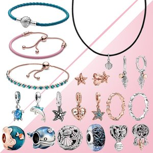 2020 Waves Estate 925 Ocean Fish Blue Sea Glass Turtle ciondolano braccialetto di fascino delle stelle marine orecchini Rose collana in pelle anello