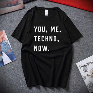 You Me Techno Теперь Mens Ситец Футболка Музыка Слоган Печать Detroit Acid House New Summer Camisetas Hombre Tee рубашка Ьотте