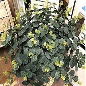 10pcs lot Eucalyptus Leaves Artificial flower Leaves Tropical Plant office home wedding Plants Garden Home Office Decoration Fake Green Leaf
